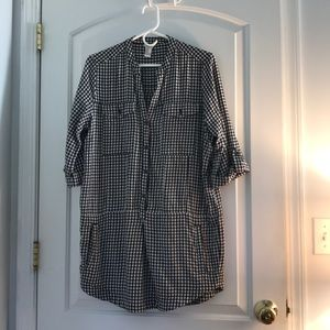 Black and White checked quarter sleeve tunic